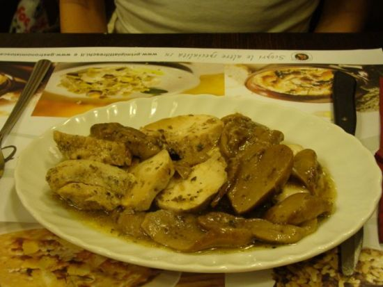 Best restaurants in Florence: Chicken and mushrooms at Pangies