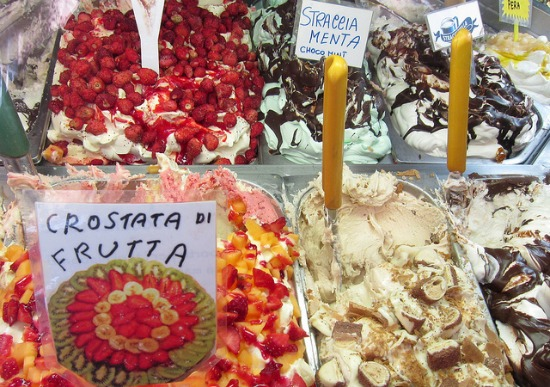Italian gelato flavors for summer in Sorrento