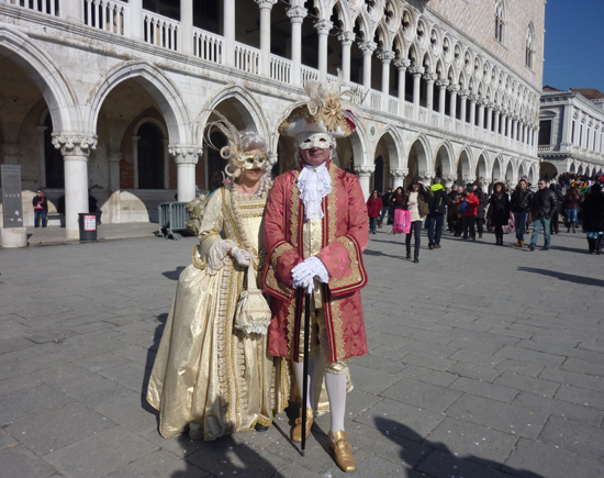 Venice Carnival 2012, Masqueraders in front of the Doge's Palace, Photo credit: Leslie Rosa