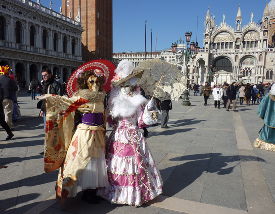 Venice Carnivale 2012, Masqueraders in Piazza San Marco, Photo credit: Leslie Rosa