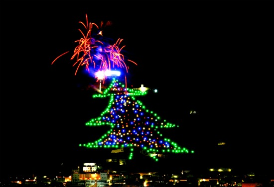 The world's biggest Christmas tree - Gubbio, Umbria
