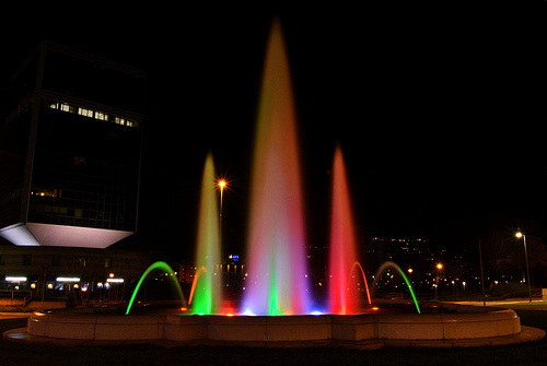 Tricolor Fountain Brescia - 150 anniversary of Italian unification